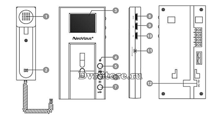 Расположение кнопок на домофоне ND-100