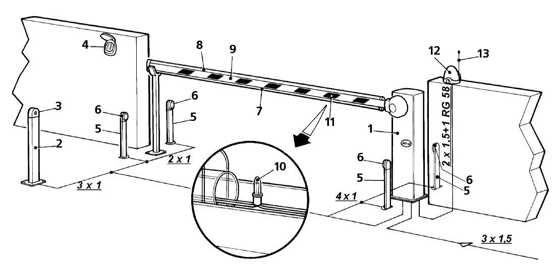 Схема установки шлагбаума Nice